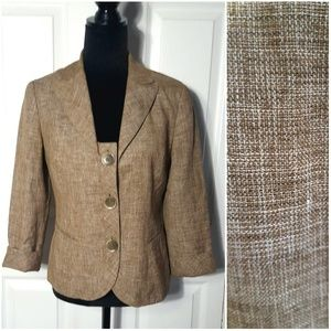 Lafayette 148 Wool Linen Blend 3/4 Sleeve Jacket